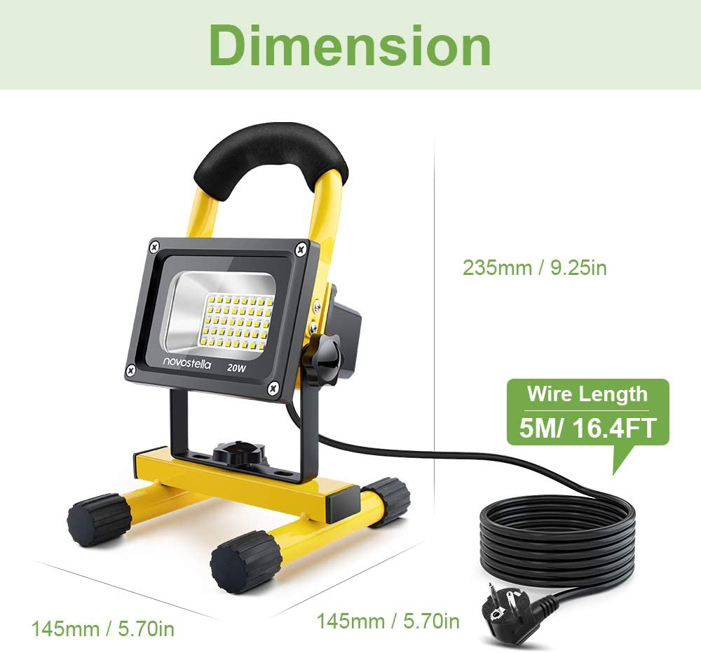 NOVOSTELLA 20W 1600LM Foco Proyector LED con 5M Cable, LED ...