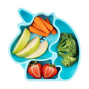Juliaire Suction Plates for Babies, and Toddlers | Food Grade Silicone Suction Plates - 100%, BPA Free, Unicorn Plate (Blue)