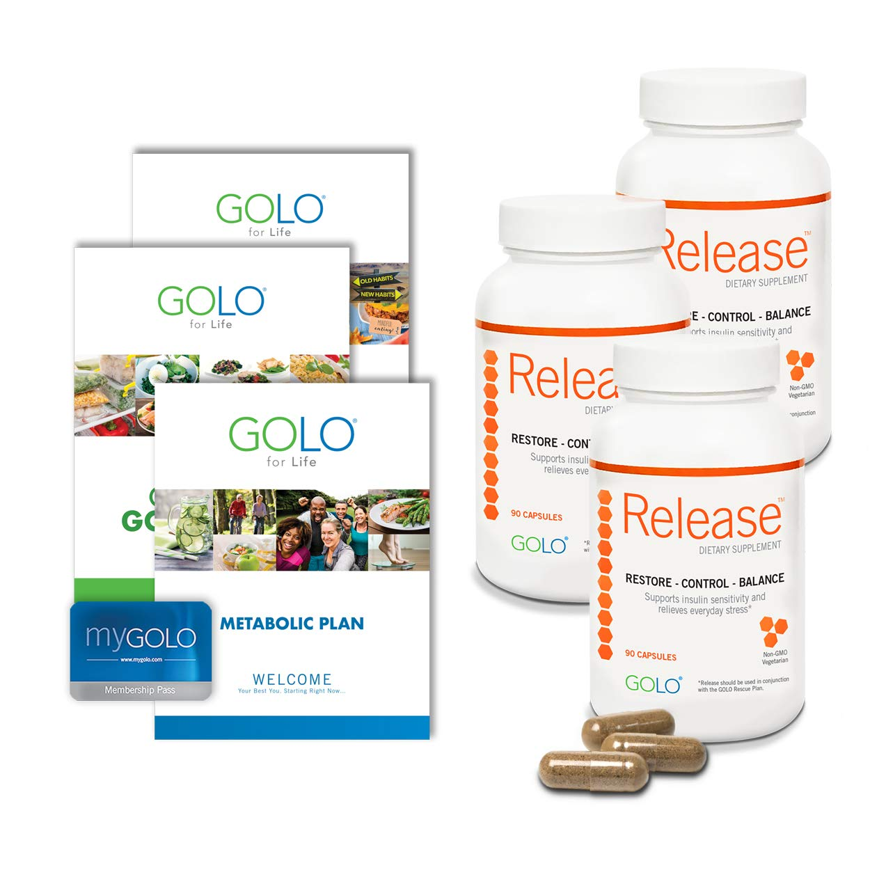GOLO Metabolic Plan Weight Loss System - Release Weight Loss Diet Supplements - Made with Natural Ingredients - 90 Day Supply