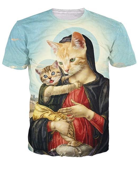 DUES 3D Madre Santa y Gatito Camiseta renacentista Arte y ...