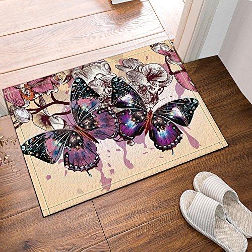 NYMB Purple butterflies and flowers in Beige Bath Rugs, Non-Slip Floor Entryways Outdoor Indoor Front Door Mat,60x40cm Bath Mat (Butterfly Bath Rug Purple)