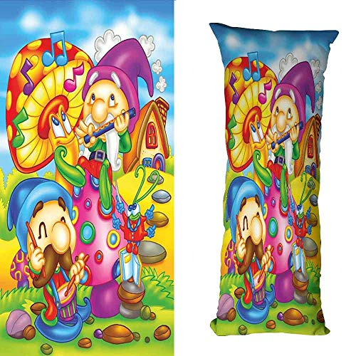 DuckBaby Simple Pillowcase Kids Cartoon Style Singing Elves with Mushroom Playing Flute Musical Cheerful Illustration Anti-Fading W16 xL47 Multicolor