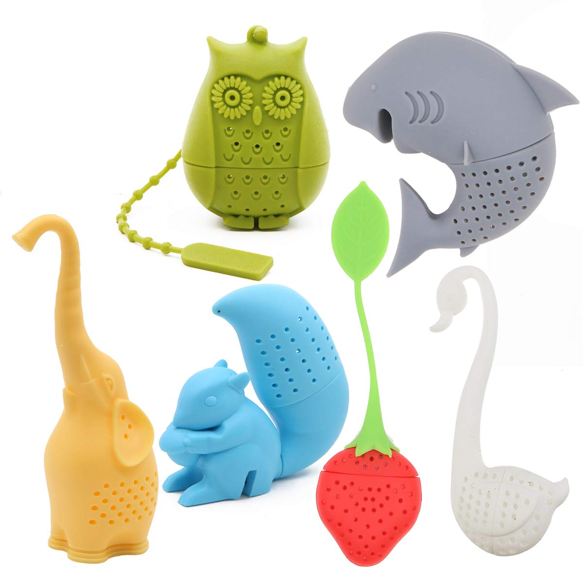 Creative Cute Animal Eco-friendly Silicone Tea Infuser Strainer Set of 6 PCS Elephant Shark Swan Squirrel Strawberry Owl Tea Steeper Tea Lover's Gift Winterworm