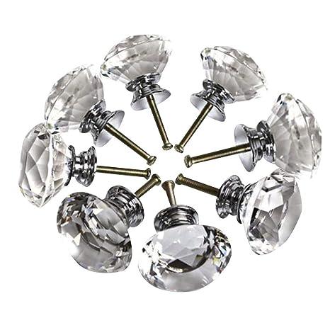 24pcs crystal glass cabinet knobs 25mm diamond shape drawer kitchen