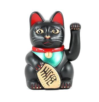 """6"""" Gato De La Suerte Negro Maneki Neko Saludando ..."""