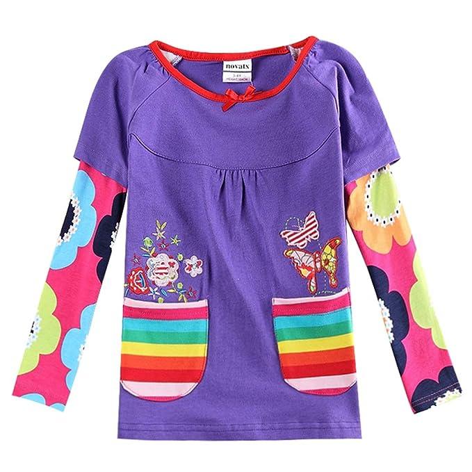 9dc5be621e196 JUXINSU Cotton Toddler Girls Long Sleeve Pink t-Shirt Flower for Baby Girl  Kids Autumn Clothes 1-6 Years L339