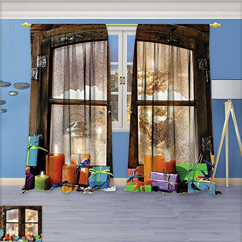 Nalahome Print Woven Sateen Window Curtain,Holiday Printed Art Work for Home Walls Panel Pair with Grommet Top, 84W x 108L (42 Iron Works Wall)