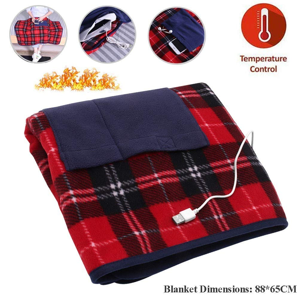 Blanket USB Lap Heated Throw with Auto Off, Portable Heated Blanket Battery Operated Warm Shawl Ultra Soft Plush Heating Cape Wrap Stadium Blanket, Washable