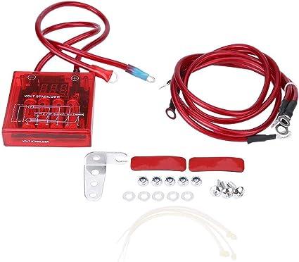 azul Estabilizador de voltaje digital Coche 12V Kit de estabilizador de regulador de voltaje universal con 3 cables de tierra para cami/ón de carro