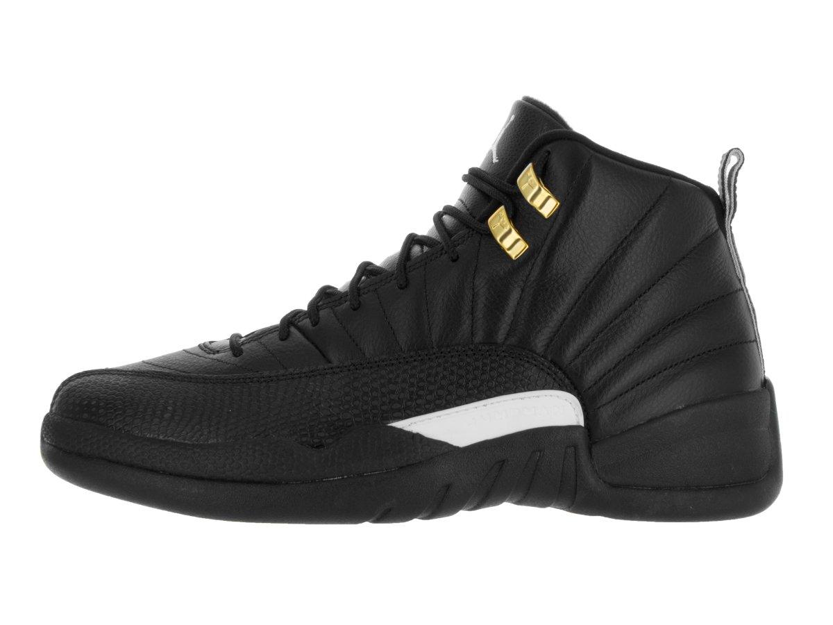 nike negro / blanco / dorado air jordan 12 retrò, negro zapatillas / de