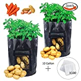 #10: JPSOR 2pcs Potato Grow Bags 10 Gallon with 100pcs Nursery Bags,Garden Vegetables Planter Bags with Flap and Handles Heavy Duty Suitable for Potato, Carrot, Tomato (Black)