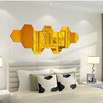 Amazon.com: Keepfit DIY Wall Sticker 3D Mirror Hexagon Mural Decals ...