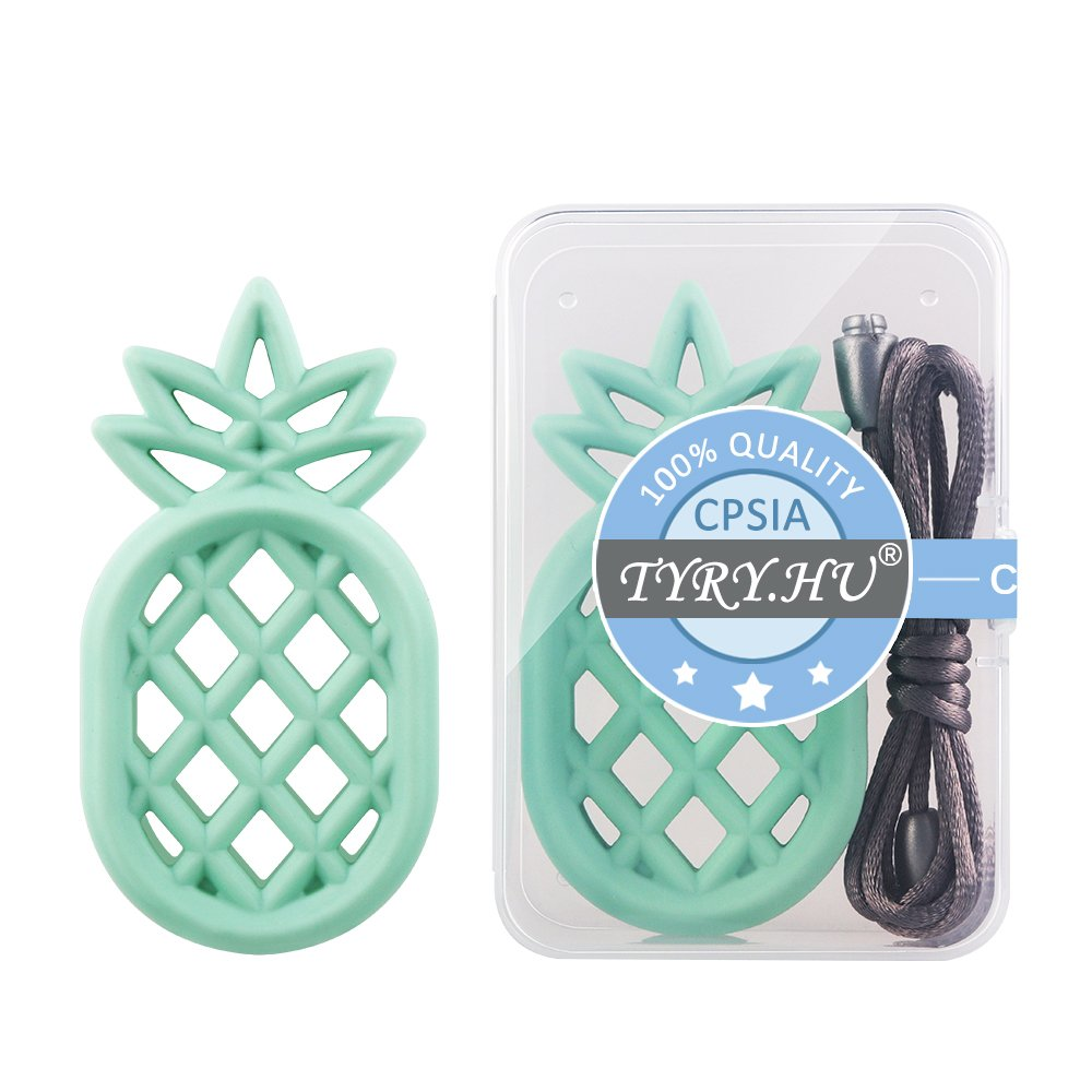 Silicone Teether TYRY.HU Baby Teething Toys Soft Chew Toys BPA Free for Girls Boys Infant Shower Gift Green Pineapple