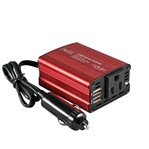 FOVAL 150W Car Power Inverter DC 12V to 110V AC Converter with 3.1A Dual USB Car Charger