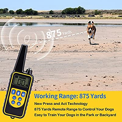 Moer Sky Dog Training Collar, Upgraded 100% Waterproof Rechargeable 875 Yards Remote Dog Shock Collar with LED Light/Beep/Vibration/Shock for Small Medium Large Dogs