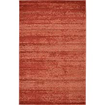 Over-dyed Modern Vintage Rugs Terracotta 5' x 8' FT Palma Collection Area Rug - Perfect for any Place