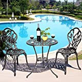 Casart 3 Pcs Bistro Set Cast Tulip Design Antique Outdoor Patio Furniture Weather Resistant Garden Round Table and Chairs Set w/Umbrella Hole (Tulip Design) Review