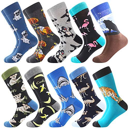 Bonangel Men's Fun Dress Socks-Colorful Funny Novelty Crew Socks Pack,Art Socks from BONANGEL