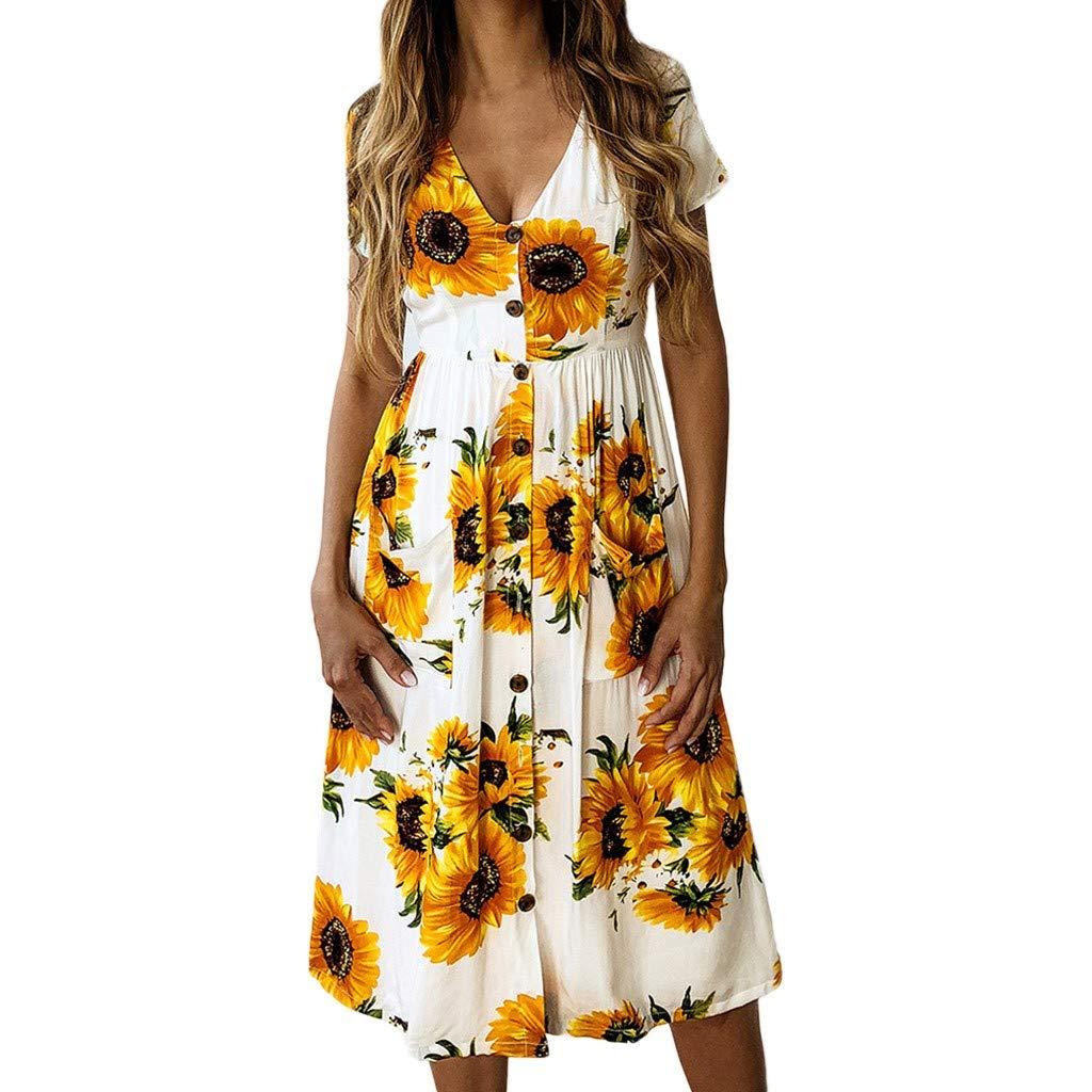 Sunhusing Women's Sunflower Print Button Buckle Waist-Tie V-Neck Short Sleeve Dress Casual Beach Sundress White