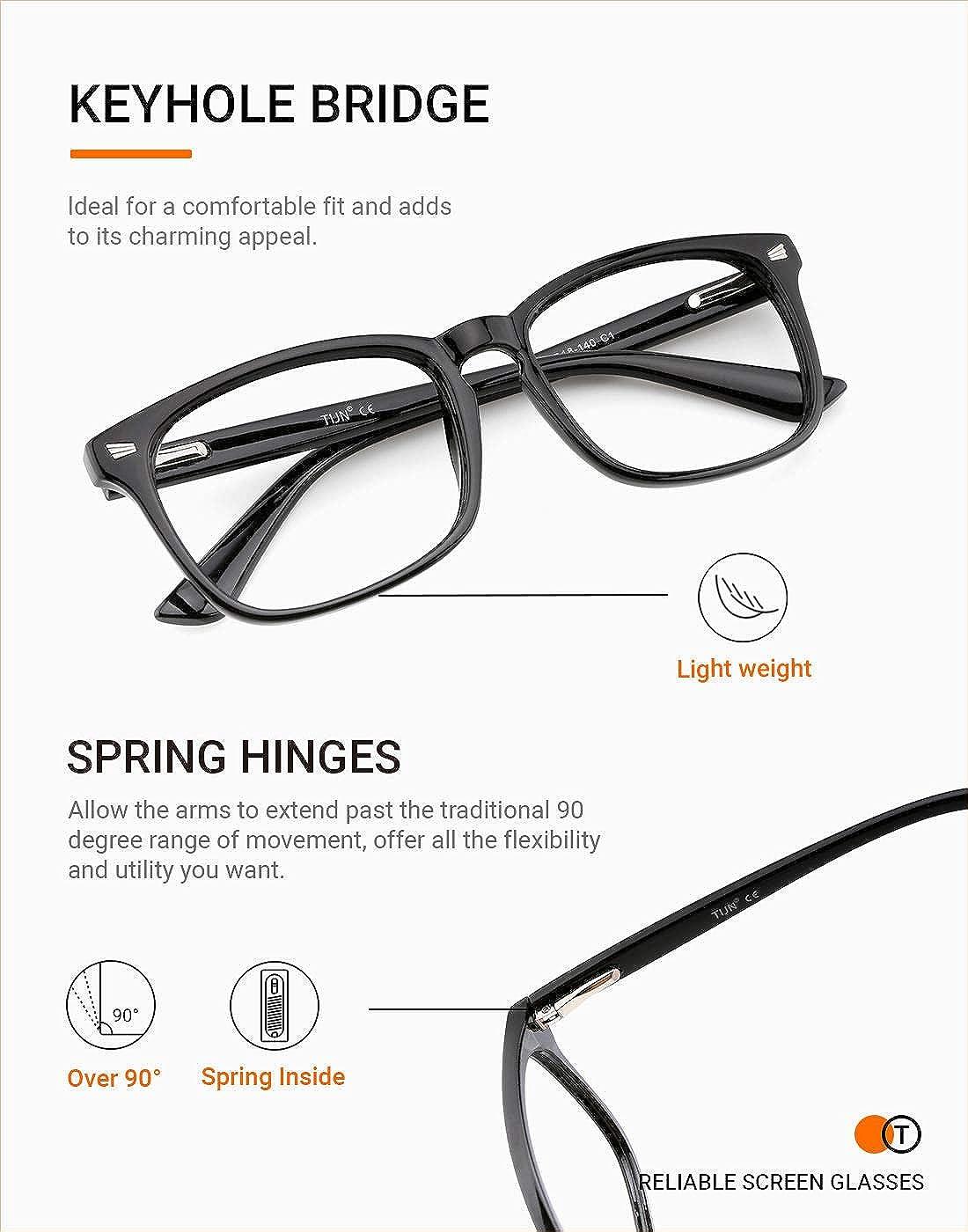 TIJN 2 Pack Blue Light Blocking Glasses for Women Men Nerd Computer Glasses UV Protection Anti Eyestrain