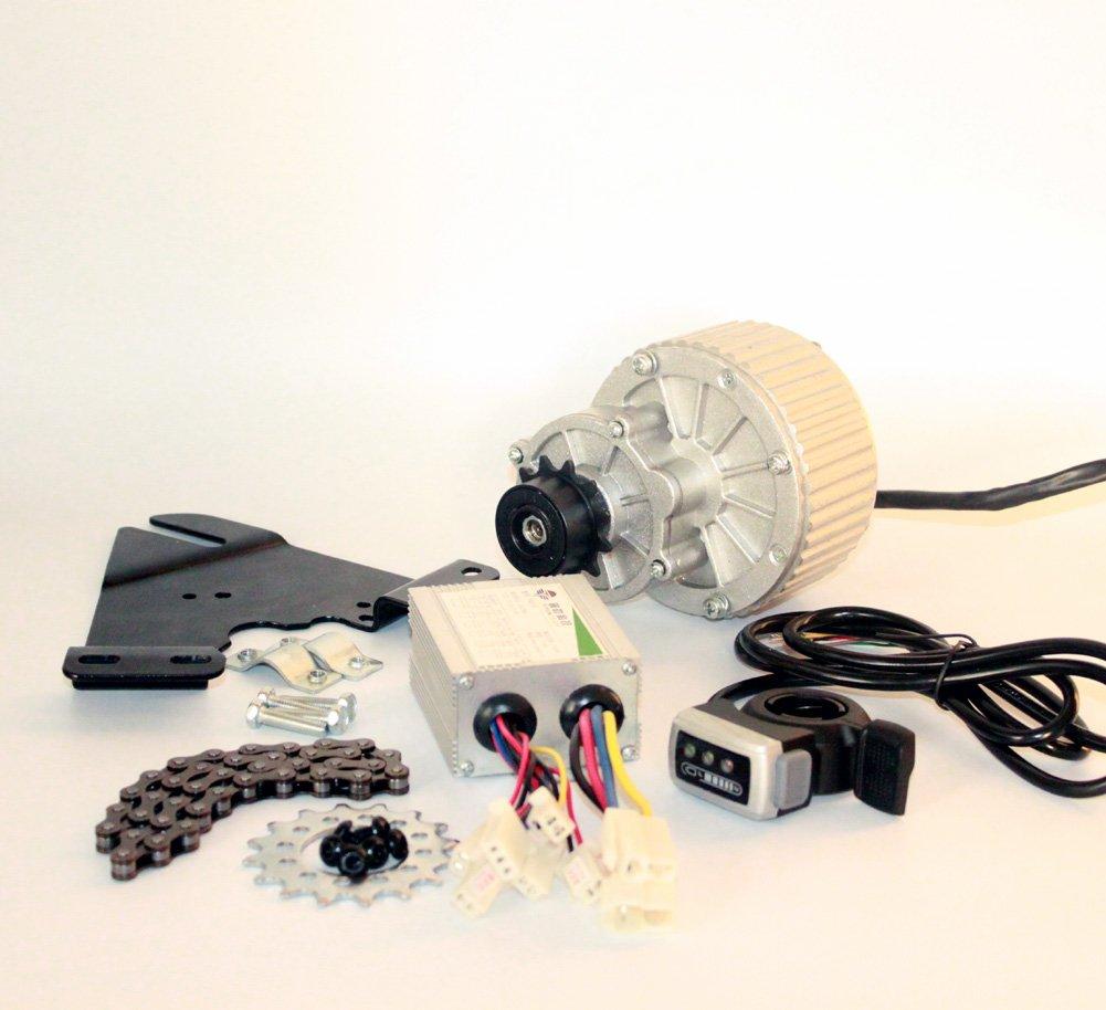 24v36v 450ワット電動自転車変換キット用ディスクブレーキローター左側取付電動自転車モーターキットで親指スロットル [並行輸入品] B076FB3QGL 24V450W