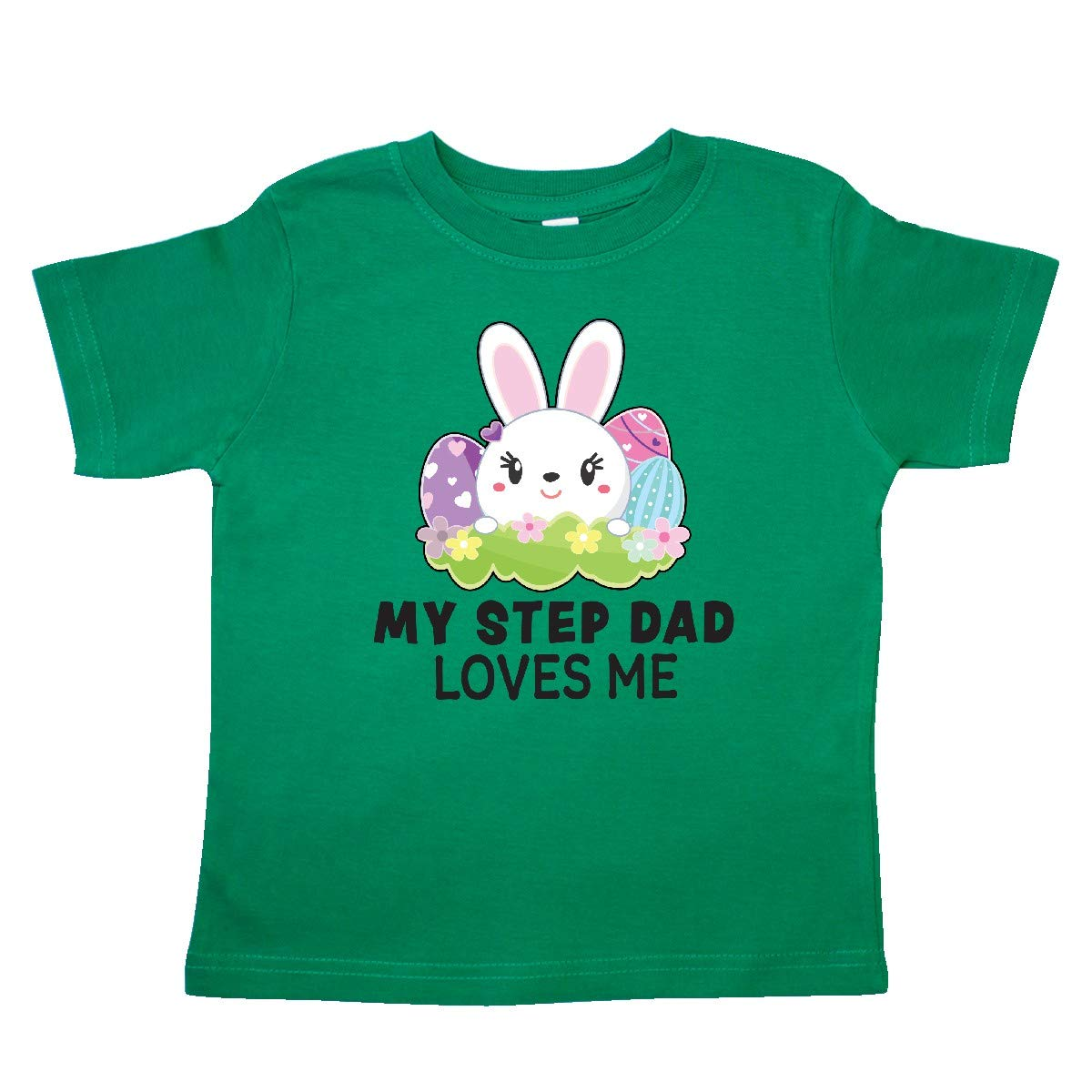 inktastic My Step Dad Loves Me with Bunny and Easter Eggs Toddler T-Shirt