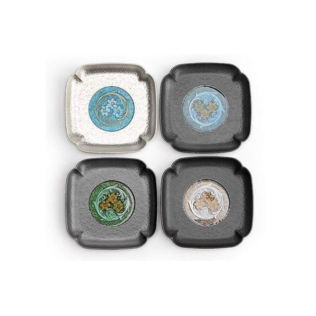 Coasters with Holder Alloy Coaster Creative Tea Cup Holder Hand-painted Enamel Cup Mat Insulation Pad Japanese Household Tea Ceremony Accessories Cup Holder Coasters by Zunruishop