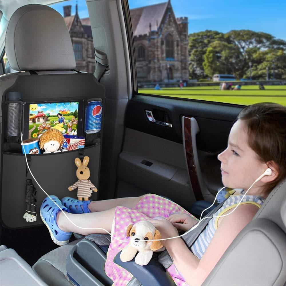 Car Seat Organizer Car Trash Can Sedile posteriore impermeabile Organizzatori per auto con 10.1 Tablet iPad Touch Screen Holder Multi Tasche con Car Garbage Bin Tenere pulito il tuo Tappezzeria