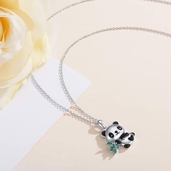 necklace-silver plated chain Cute Panda with red flower