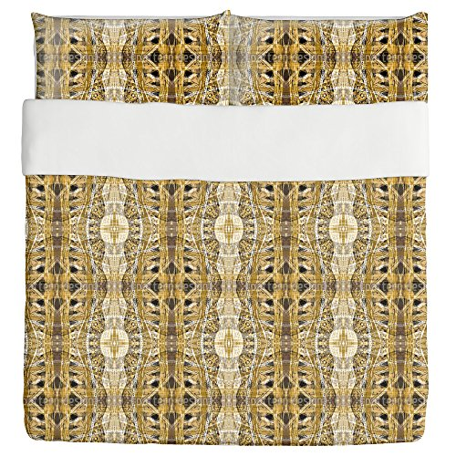 Amber Gold Duvet Bed Set 3 Piece Set Duvet Cover - 2 Pillow Shams - Luxury Microfiber, Soft, Breathable by uneekee