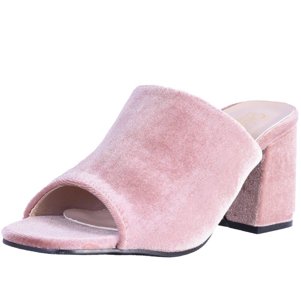 Catherine Malandrino Women's Block Heel Velvet Slide Sandals, Nude Velvet, Size 8.5 B(M) US'
