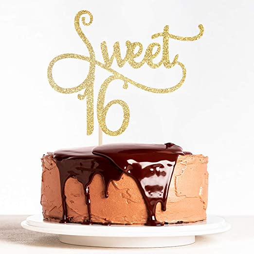 Amazon.com: Oro Sweet 16 tarta – Happy 16th fiesta de ...