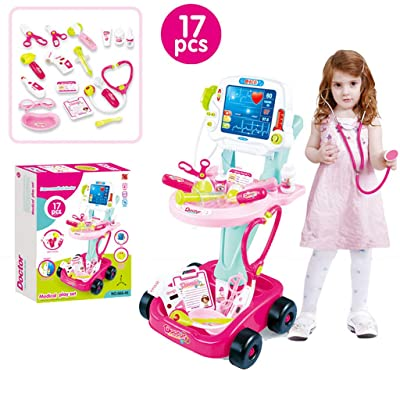 17Pcs Doctor Cart Pretend Play Set ,Doctor Pretend Play Set with Electric Simulation ECG Medical and Stethoscope Kit,Doctor Role Play Game ,Doctor Medical Kit for Kids Medical Accessories (Pink): Toys & Games