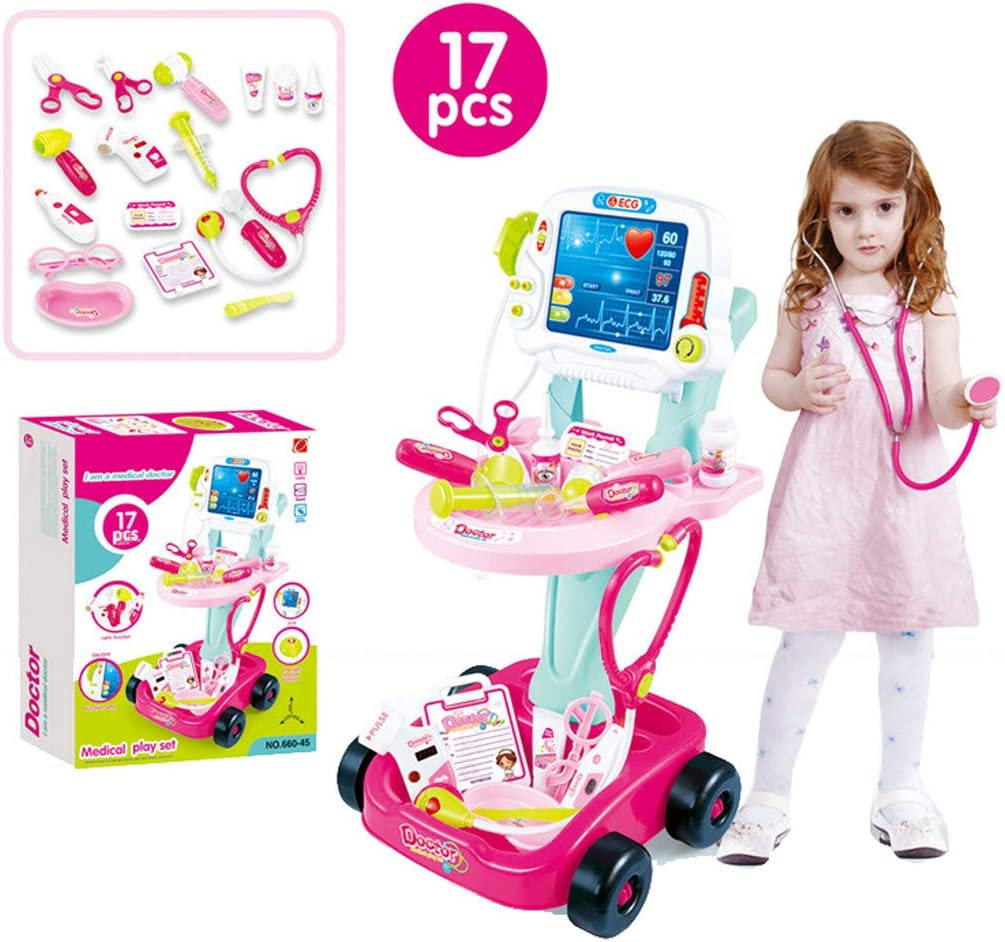 Kids Doctor Toy Kit Set | Toddlers Pretend Doctors Trolley Play Sets with Electric Simulation ECG Medical and Stethoscope Kits Medical Equipment for Boys Girls (Pink)