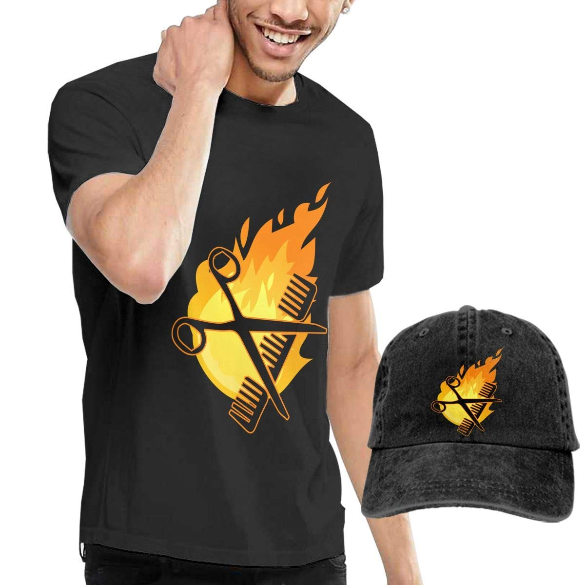 YXQMY Funny Hairdresser On Fire Mens Short-Sleeve T-Shirt and Hat Combo Set