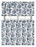 #3: Blue Dye Cotton Blend Shabby Floral Kitchen Curtain Tier & Valance Set