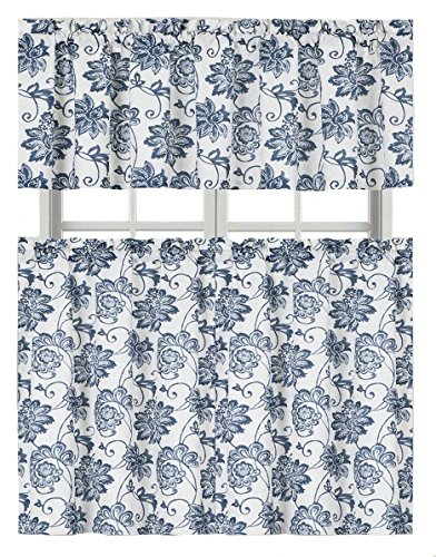 Blue Dye Cotton Blend Shabby Floral Kitchen Curtain Tier & Valance Set - Cotton Floral Valance
