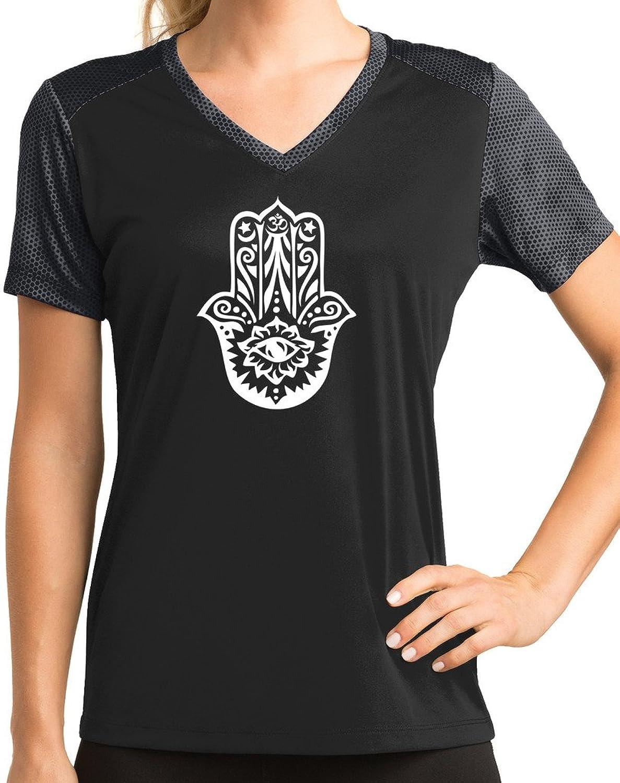 Yoga Clothing For You Ladies Hamsa V-neck Performance Tee