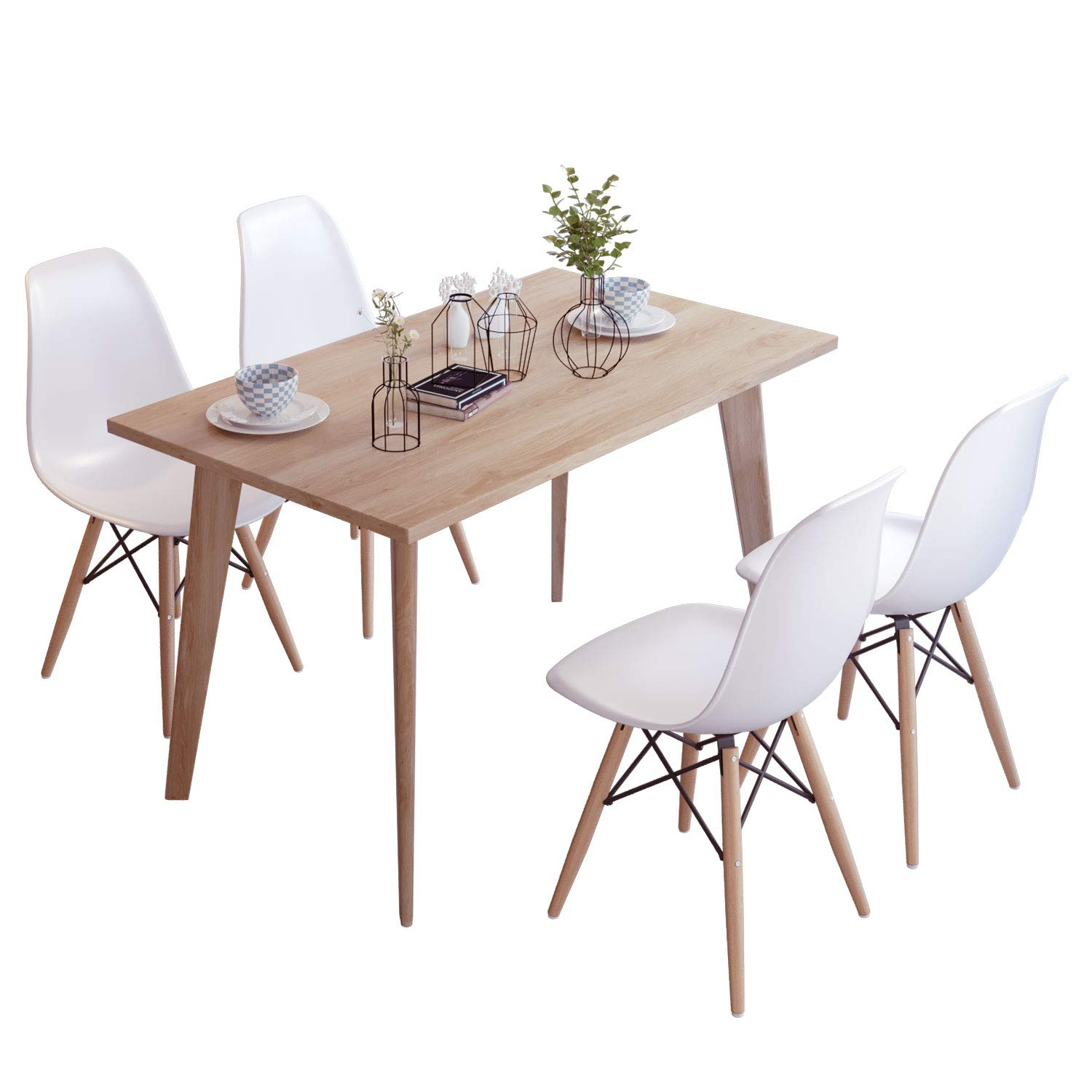 Furniture Round Dining Table Chairs Set Wooden Legs Yellow Grey Office Cafe Retro Design Home Furniture Diy Breadcrumbs Ie