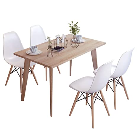 Excellent Joolihome Rectangular Dining Table And Set Of 4 Dining Chairs For Office Lounge Dining Kitchen Wood Table White Chair Creativecarmelina Interior Chair Design Creativecarmelinacom