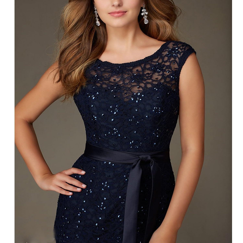 ABaowedding Navy Blue Long Bridesmaid Dresses,Lace,UK Size