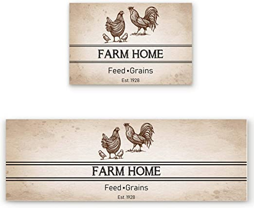 Amazon Com 2 Pcs Kitchen Mats Runner Rug Set Anti Fatigue Standing Mat Rubber Backing Retro Chicken Farm Family Print Washable Floor Mat Area Rug For Home Office 15 7 X23 6 15 7 X47 2 Home Kitchen