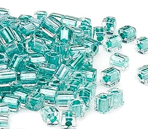MIYUKI CUBE GLASS SEED BEADS 4mm choice of color 100pc (CLEAR SEAFOAM COLOR LINED/SB2605)