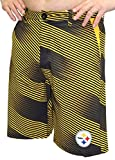 Klew Pittsburgh Steelers NFL ''Diagonal Striped'' Men's Casual Polyester Walking Shorts, Large/36