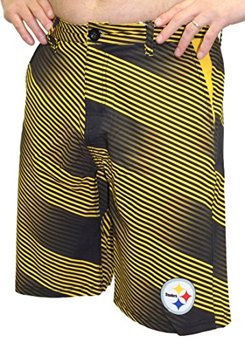 Klew Pittsburgh Steelers NFL ''Diagonal Striped'' Men's Casual Polyester Walking Shorts, Large/36 by Klew