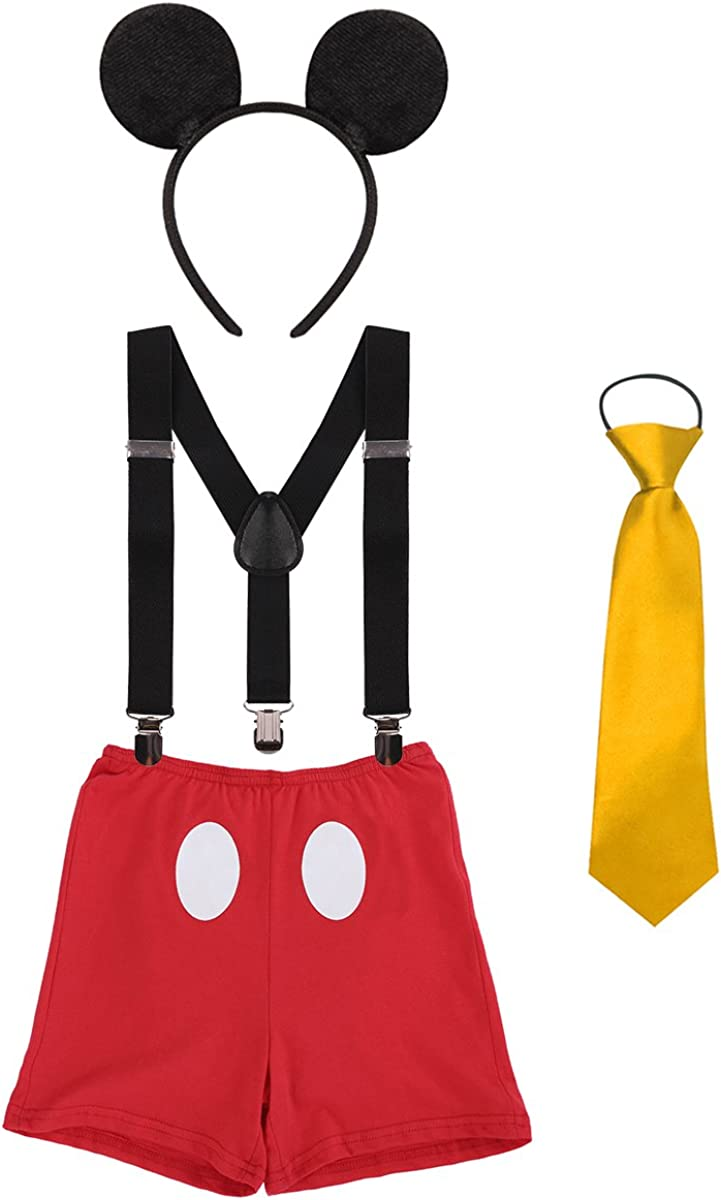 Disfraz de Mickey Infántil Bebé Niños Niñas Lindo Ratón 1er/2do/3er Cumpleaños Halloween Traje Algodón Calzoncillos+Tirantes+Corbata+Diadema de Oreja Fiestas Carnaval Ceremonia Boda Kids Sets