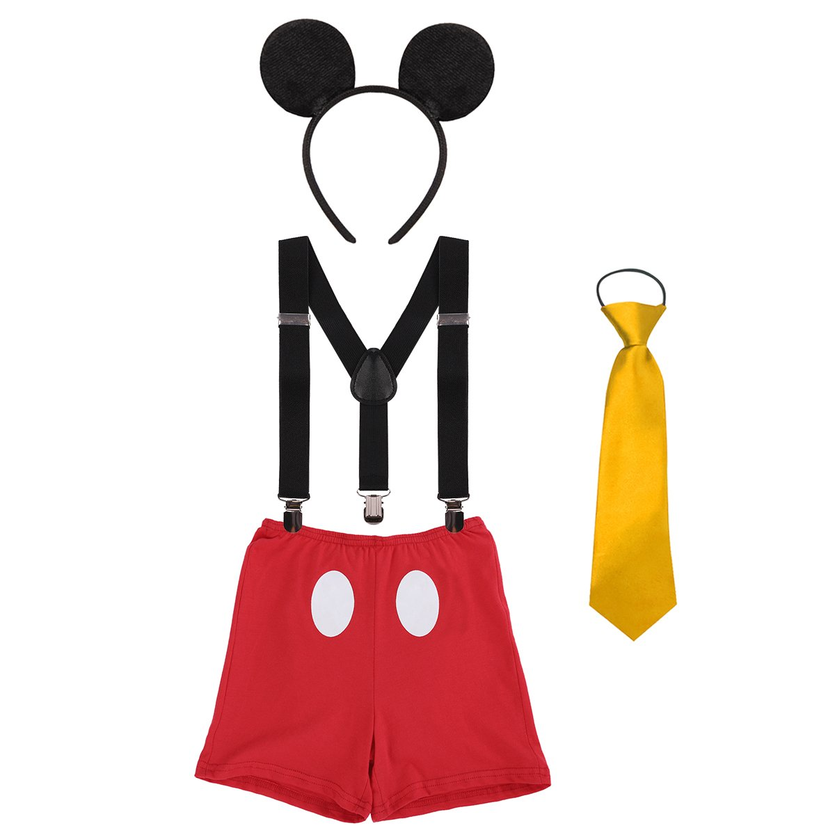 Newborn Infant Baby Boys Toddlers Cute Mouse Costume 1st / 2nd / 3rd Birthday Cake Smash Bloomers Shorts + Clip-On Suspenders Y Back Braces + Necktie + Ears Photography Props 4PCS Outfits