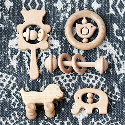 Natural Wooden Teether Rattles Gym Intellectual Puzzle Toys 5pc Set Montessori Toys Baby Shower Gift