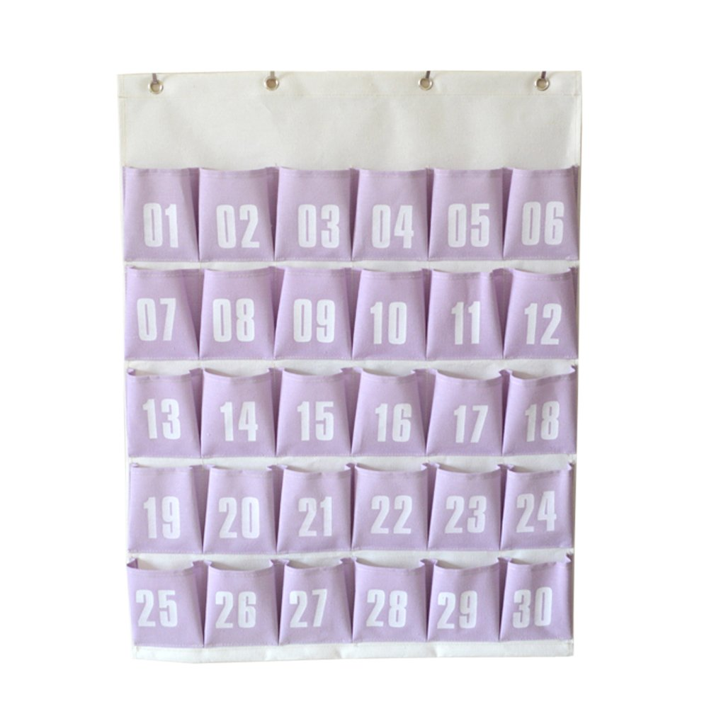 Ozzptuu 30 Pockets Numbered Classroom Office Pocket Chart for Cell Phones Hanging Organizer Storage Bag with 4 Hooks (Purple)