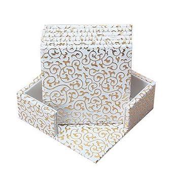 Set von 6 PU-Leder-Untersetzer mit Halter-Quadrat-Weiß-Gold-Blumen ...